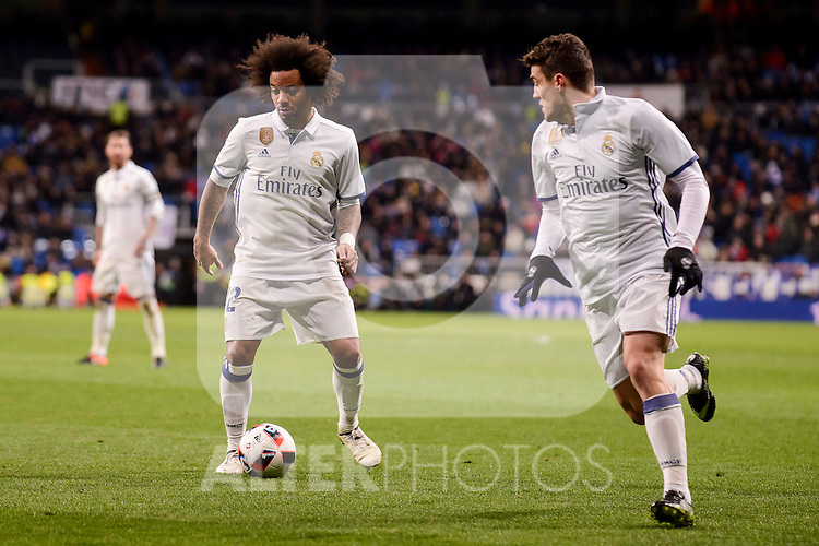 Real Madrid's Marcelo and Mateo Kovacic during Copa del Rey match between Real Madrid and Celta de Vigo at Santiago Bernabeu Stadium in Madrid, Spain. January 18, 2017. (ALTERPHOTOS/BorjaB.Hojas)