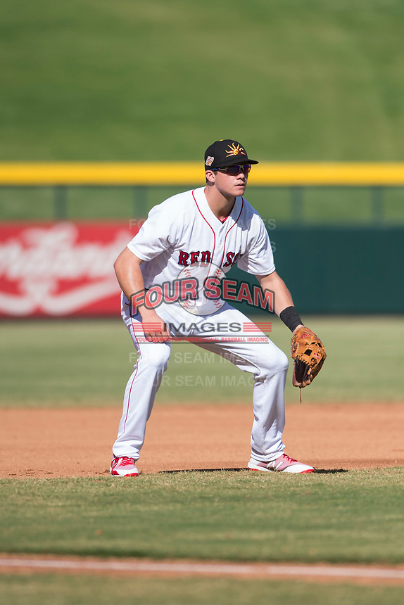 Mesa Solar Sox third baseman Bobby Dalbec (11), of the Boston Red Sox organization, during an Arizona Fall League game against the Peoria Javelinas at Sloan Park on October 24, 2018 in Mesa, Arizona. Mesa defeated Peoria 4-3. (Zachary Lucy/Four Seam Images)
