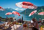Oesterreich, Salzburger Land, Thumersbach: Cafe am See mit Blick zum Kitzsteinhorn (Glocknergruppe - Hohe Tauern) | Austria, Salzburger Land, Thumersbach: cafe at Zeller Lake with view to snow capped Kitzsteinhorn of Glockner mountain range