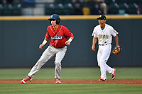 Center fielder Mickey Moniak (22) of the Lakewood BlueClaws takes a lead off second base in a game against the Columbia Fireflies on Friday, May 5, 2017, at Spirit Communications Park in Columbia, South Carolina. Defending is Columbia's Andres Gimenez (4). Lakewood won, 12-2. (Tom Priddy/Four Seam Images)