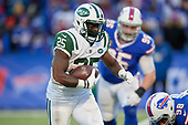 New York Jets running back Elijah McGuire (25) rushes for a touchdown during an NFL football game against the Buffalo Bills, Sunday, December 9, 2018, in Orchard Park, N.Y.  (Mike Janes Photography)