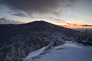 View of Mount Martha at sunset from Owl's Head (Cherry Mountain) in Carroll, New Hampshire USA during the winter months.