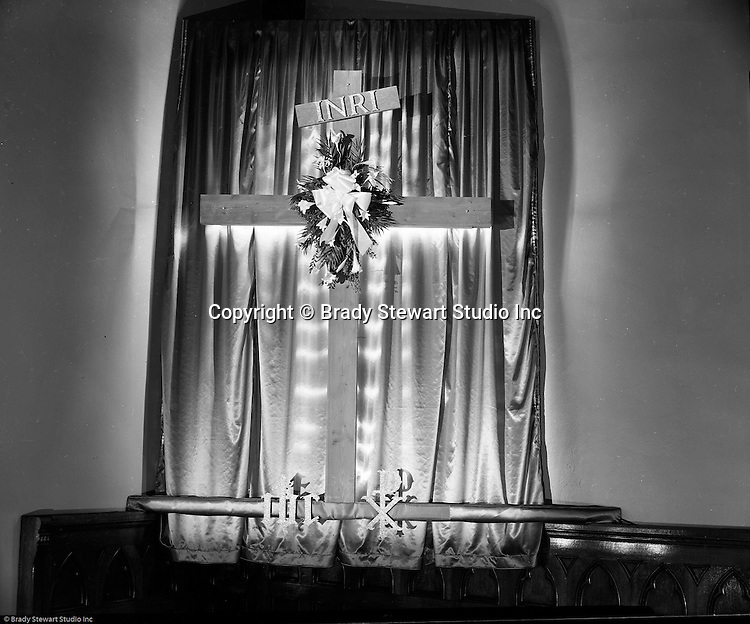 Pittsburgh PA:  View of the Easter Sunday decorations at the First Lutheran Church in Pittsburgh.  First English Evangelical Lutheran Church in Pittsburgh was founded in 1837.  The existing building on Grant Street was dedicated in 1888.