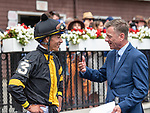 July 17, 2021: TV Analyst Richard Migliore interviews jockey Jose Ortiz after Baby Yoda #3, ridden by Jose L. Ortiz, wins race 2 (starter allowance) on Diana Day at Saratoga Race Course in Saratoga Springs, New York on July 17, 2021. Rob Simmons/Eclipse Sportswire/CSM