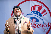 NEW YORK, NEW YORK - FEBRUARY 4:  Mariano Rivera, former pitcher of the New York Yankees, speaks during a press conference Yankee Stadium during COVID-19 vaccination hub at Yankee Stadium on February 5, 2021 in New York City. Yankees legend Mariano Rivera visit the Yankee Stadium on Friday as it was transformed into a COVID-19 vaccination mega-facility for resident of the zone. (Photo by Eduardo MunozAlvarez/VIEWpress)