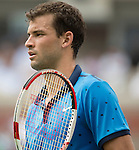 Grigor Dimitrov (BUL) loses to Gael Monfils (FRA) 7-5, 7-6, 7-5 at the US Open being played at USTA Billie Jean King National Tennis Center in Flushing, NY on September 2, 2014