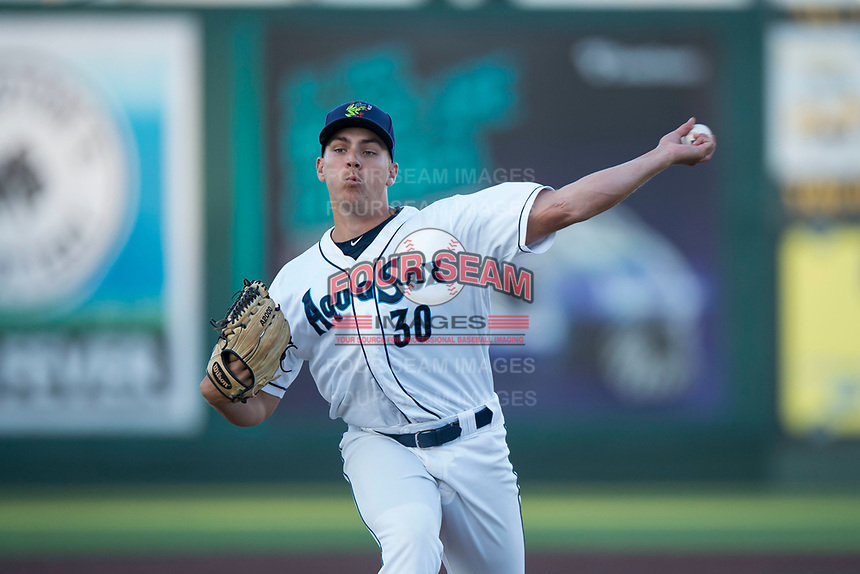 Everett AquaSox relief pitcher Grant Spranger (30) delivers a pitch during a Northwest League game against the Tri-City Dust Devils at Everett Memorial Stadium on September 3, 2018 in Everett, Washington. The Everett AquaSox defeated the Tri-City Dust Devils by a score of 8-3. (Zachary Lucy/Four Seam Images)