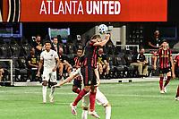 ATLANTA, GA - SEPTEMBER 02: Anton Walkes #4 of Atlanta United FC clears a headed ball during a game between Inter Miami CF and Atlanta United FC at Mercedes-Benz Stadium on September 02, 2020 in Atlanta, Georgia.