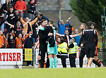 St Johnstone v Dundee United…22.08.21  McDiarmid Park    SPFL<br />Manager Tam Courts hugs Trevor Carson at full time<br />Picture by Graeme Hart<br />Copyright Perthshire Picture Agency<br />Tel: 01738 623350  Mobile: 07990 594431