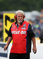 Aug 18, 2017; Brainerd, MN, USA; Chuck Worsham , crew chief for NHRA funny car driver Del Worsham during qualifying for the Lucas Oil Nationals at Brainerd International Raceway. Mandatory Credit: Mark J. Rebilas-USA TODAY Sports