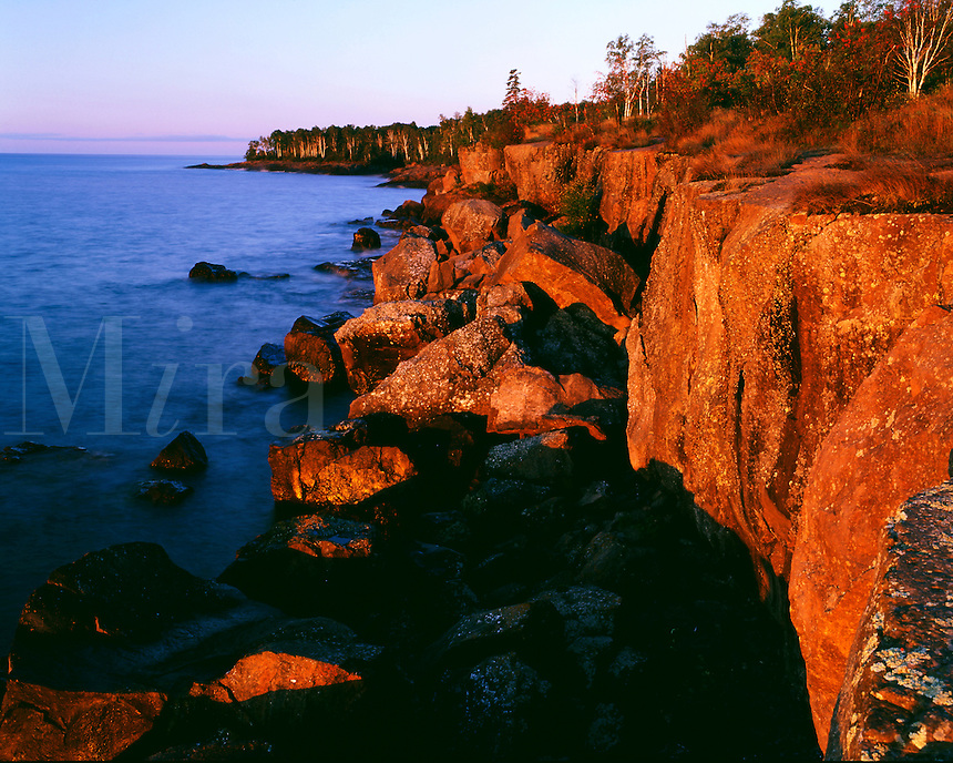 Cliff along Lake Superior' s northern  shoreline. Gooseberry Falls State Park Minnesota