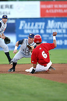 August 2nd 2008:  Second baseman Chad Rice of the State College Spikes, Class-A affiliate of the Pittsburgh Pirates, covers the bag as Jose Garcia of the Batavia Muckdogs slides in during a game at Dwyer Stadium in Batavia, NY.  Photo by:  Mike Janes/Four Seam Images