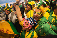 Brazil supporters cheer after defeating Ivory Coast 3-1 at a FIFA World Cup first round match between Ivory Coast and Brazil at Soccer City in Johannesburg, South Africa on Sunday, June 20, 2010.