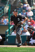 Umpire Shane Livensparger during a game between the Norfolk Tides and Rochester Red Wings on July 17, 2016 at Frontier Field in Rochester, New York.  Rochester defeated Norfolk 3-2.  (Mike Janes/Four Seam Images)