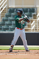 Isael Soto (15) of the Greensboro Grasshoppers at bat against the Kannapolis Intimidators at Kannapolis Intimidators Stadium on August 5, 2018 in Kannapolis, North Carolina. The Grasshoppers defeated the Intimidators 2-1 in game one of a double-header.  (Brian Westerholt/Four Seam Images)