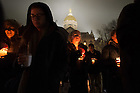 """January 16, 2017; Participants form a candlelight procession following a prayer service in the Main Building in observation of Martin Luther King Jr. Day. The event also marked the beginning of """"Walk the Walk"""" week, a series of events an observances to celebrate and reflect on diversity and inclusiveness. (Photo by Matt Cashore/University of Notre Dame)"""