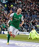 Dylan McGeouch celebrates his goal for Hibs