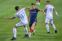 CHICAGO, UNITED STATES - AUGUST 25: Alvaro Medran #10 of Chicago Fire battles with Mathieu Deplagne #17 of FC Cincinnati during a game between FC Cincinnati and Chicago Fire at Soldier Field on August 25, 2020 in Chicago, Illinois.