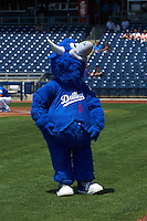 Tulsa Drillers mascot Hornsby before a game against the Midland RockHounds on June 3, 2015 at Oneok Field in Tulsa, Oklahoma.  Midland defeated Tulsa 5-3.  (Mike Janes/Four Seam Images)