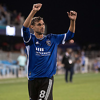 SAN JOSE, CA - JULY 24: Chris Wondolowski #8 of the San Jose Earthquakes  applauds the fans after a game between San Jose Earthquakes and Houston Dynamo at PayPal Park on July 24, 2021 in San Jose, California.