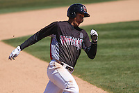 Wisconsin Timber Rattlers shortstop Jake Gatewood (2) rounds the bases during a game against the Peoria Chiefs on April 25th, 2015 at Fox Cities Stadium in Appleton, Wisconsin.  Wisconsin defeated Peoria 2-0.  (Brad Krause/Four Seam Images)