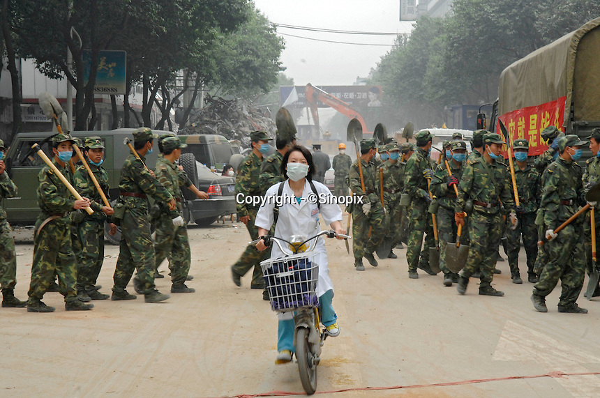 The focus turns to disease prevention and clean up in Dujiangyan..17 May 2008