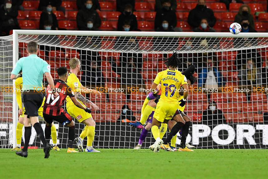 Junior Stanislas of AFC Bournemouth left goes close with a shot that hits the bar during AFC Bournemouth vs Wycombe Wanderers, Sky Bet EFL Championship Football at the Vitality Stadium on 15th December 2020