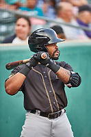 Jaylin Davis (6) of the Sacramento River Cats during the game against the Salt Lake Bees at Smith's Ballpark on August 16, 2021 in Salt Lake City, Utah. The Bees defeated the River Cats 6-0. (Stephen Smith/Four Seam Images)