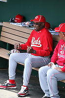 Dusty Baker, manager of the Cincinnati Reds, sits in the dugout before a spring training game against the Los Angeles Angels at Tempe Diablo Stadium on March 1, 2011  in Tempe, Arizona. .Photo by:  Bill Mitchell/Four Seam Images.