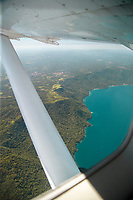 Lake Nicaragua is the largest lake in Central America. Photograph with view from an airplane, Nicaragua