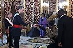 King Felipe VI of Spain meets Gabon Republic Ambassador Patrick Arthur Moukala at Royal Palace in Madrid, Spain. December 16, 2015. (ALTERPHOTOS/Victor Blanco)