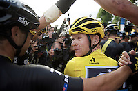 "As teammates celebrate around him and press photographers mob the 2015 Tour winner, Chris Froome (GBR/SKY) turnes around and stares in my lens for a second just after having crossed the finish line. ""Got it!"" <br /> Beautiful quiet millimoment in a sea of chaos around us.<br /> <br /> stage 21: Sèvres - Champs Elysées (109km)<br /> 2015 Tour de France"