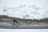 Pieter Serry (BEL/Deceuninck - Quick Step) descending from the Passo Giau<br /> <br /> due to the bad weather conditions the stage was shortened (on the raceday) to 153km and the Passo Giau became this years Cima Coppi (highest point of the Giro).<br /> <br /> 104th Giro d'Italia 2021 (2.UWT)<br /> Stage 16 from Sacile to Cortina d'Ampezzo (shortened from 212km to 153km)<br /> <br /> ©kramon