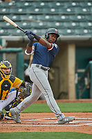 Taylor Trammell (10) of the Tacoma Rainiers at bat against the Salt Lake Bees at Smith's Ballpark on May 16, 2021 in Salt Lake City, Utah. The Bees defeated the Rainiers 8-7. (Stephen Smith/Four Seam Images)