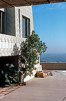 F.L. Wright: Ennis-Brown House. Entrance.  Photo '82.