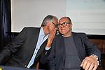 """CARLO VERDONE CON GIOVANNI MALAGO'<br /> PRESENTAZIONE DELLA CAMPAGNA """"BIKE TOUR-PEDALANDO"""" DELLA RICERCA FIBROSI CISTICA SU INIZIATIVA DI MATTEO MARZOTTO<br /> CIRCOLO CANOTTIERI ROMA 2014"""