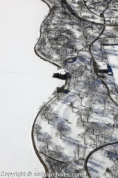 aerial photograph Central Park, Manhattan, New York City after a snow storm