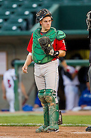 Fort Wayne TinCaps catcher Dane Phillips (9) on defense against the Lansing Lugnuts at Cooley Law School Stadium on June 5, 2013 in Lansing, Michigan.  The TinCaps defeated the Lugnuts 8-5.  (Brian Westerholt/Four Seam Images)