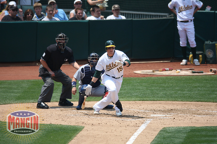OAKLAND, CA - JULY 10:  Ryan Sweeney of the Oakland Athletics bats during the game against the Seattle Mariners at the McAfee Coliseum in Oakland, California on July 10, 2008.  The Athletics defeated the Mariners 3-2.  Photo by Brad Mangin