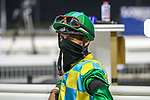 March 27 2021: March 27 2021: Jockey Antonio Fresu during the post parade before the running of the Dubai World Cup at Meydan Racecourse, Dubai, UAE. Shamela Hanley/Eclipse Sportswire/CSM