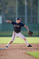 Jeremiah Zimmerman (60), from Lincoln, Nebraska, while playing for the Padres during the Baseball Factory Pirate City Christmas Camp & Tournament on December 28, 2017 at Pirate City in Bradenton, Florida.  (Mike Janes/Four Seam Images)