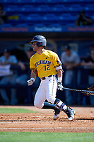Michigan Wolverines catcher Marcus Chavez (12) at bat during a game against Army West Point on February 17, 2018 at Tradition Field in St. Lucie, Florida.  Army defeated Michigan 4-3.  (Mike Janes/Four Seam Images)