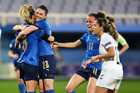 Martina Rosucci of Italy celebrates with team mates after scoring a goal during the Women s EURO 2022 qualifying football match between Italy and Israel at stadio Carlo Castellani in Empoli (Italy), February, 24th, 2021. Photo Image Sport / Insidefoto