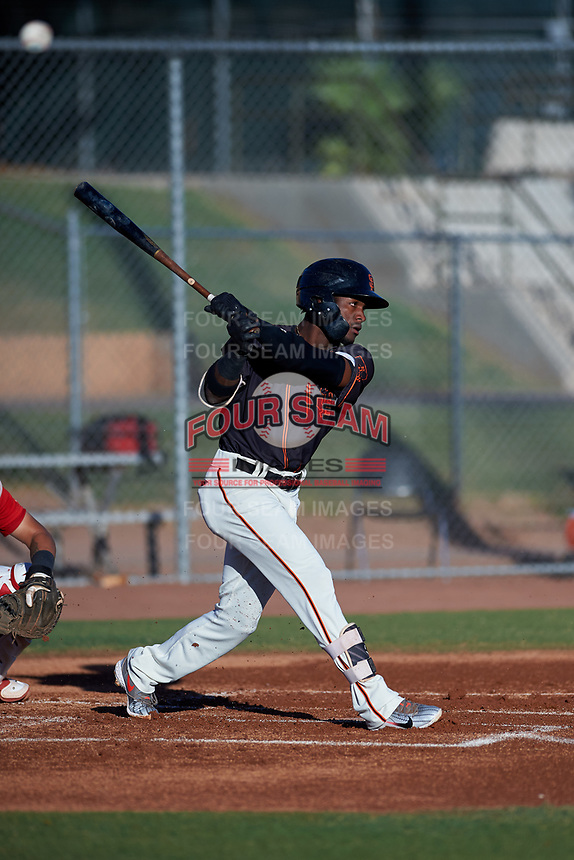 AZL Giants Black Ghordy Santos (8) at bat during an Arizona League game against the AZL Angels at the Giants Baseball Complex on June 21, 2019 in Scottsdale, Arizona. AZL Angels defeated AZL Giants Black 6-3. (Zachary Lucy/Four Seam Images)