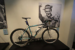 Bianchi mountain bike ridden to victory by Julien Absalon in the 2004 World Championships, on dispaly in reception Bianchi Factory, Treviglio, Italy. 30th September 2015.<br /> Picture: Eoin Clarke | Newsfile