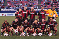 MetroStars starting lineup prior to the start of the game. The Colorado Rapids lost to the NY/NJ MetroStars 2-1 on 5/3/03 at Giant's Stadium,East Rutherford, NJ.