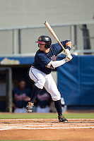 Brett Cumberland (26) of the Danville Braves at bat against the Pulaski Yankees at American Legion Post 325 Field on July 31, 2016 in Danville, Virginia.  The Yankees defeated the Braves 8-3.  (Brian Westerholt/Four Seam Images)