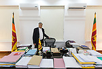 15 AUGUST 2015, COLOMBO, SRI LANKA: Ranil Wickremesinghe the Sri Lankan Prime Minister since 9 January 2015 speaking at the Prime Ministerial residence Tree Tops on his prospects in the looming election held on Monday 17 August.  He previously served as Prime Minister from 7 May 1993 to 19 August 1994 and from 9 December 2001 to 6 April 2004. A member of the United National Party, he was appointed party leader in November 1994. He is also the leader of the United National Front, having been appointed head of the alliance in October 2009.