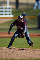 Concord Mountain Lions relief pitcher Caleb Hare (41) in action against the Wingate Bulldogs at Ron Christopher Stadium on February 2, 2020 in Wingate, North Carolina. The Mountain Lions defeated the Bulldogs 12-11. (Brian Westerholt/Four Seam Images)