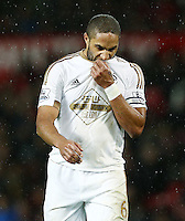 Ashley Williams of Swansea City looks dejected during the Barclays Premier League match between Manchester United and Swansea City played at Old Trafford, Manchester on January 2nd 2016